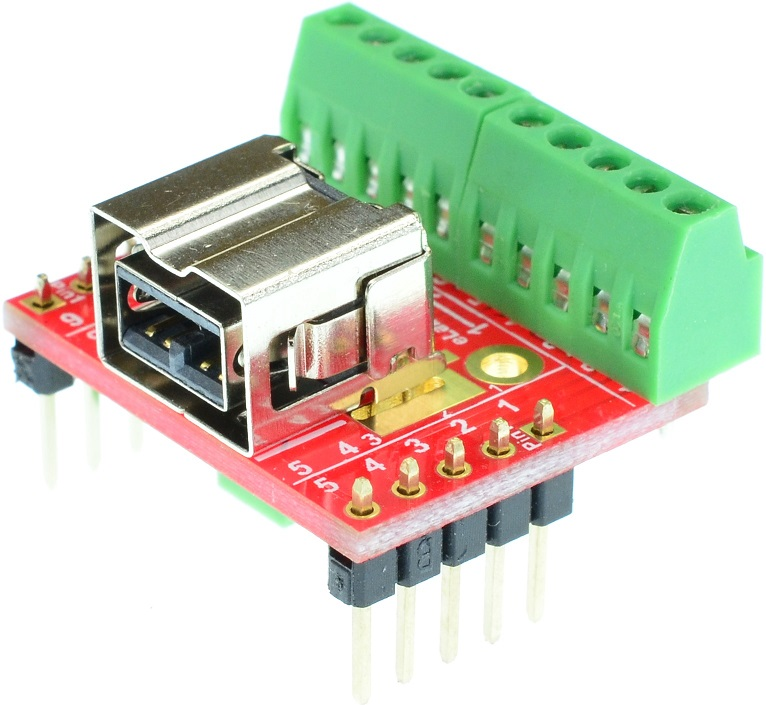 Apple 9-pin FireWire 800 Female connector breakout board