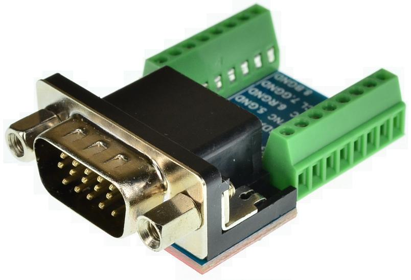 DB15HD VGA Male connector Breakout Board