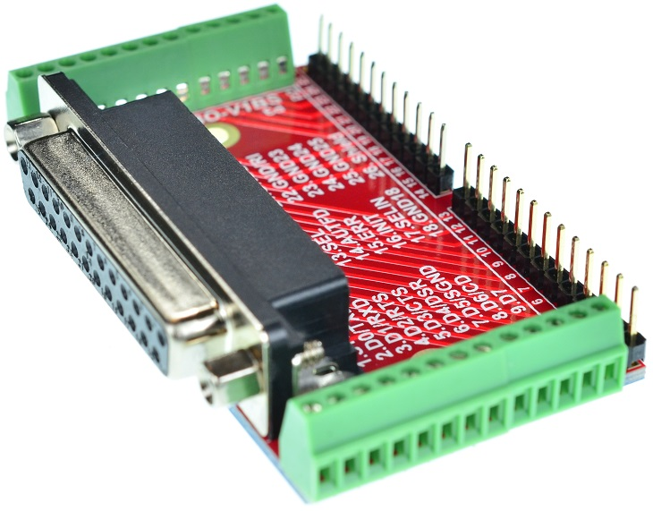 DB25 Female Printer Port connector Breakout Board