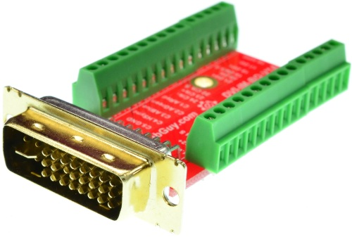 DVI-I Dual Link Male connector Breakout Board