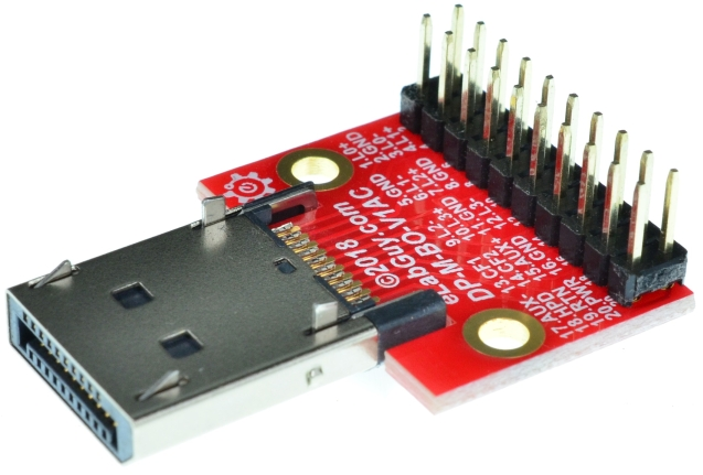 Displayport Female vertical connector Breakout Board