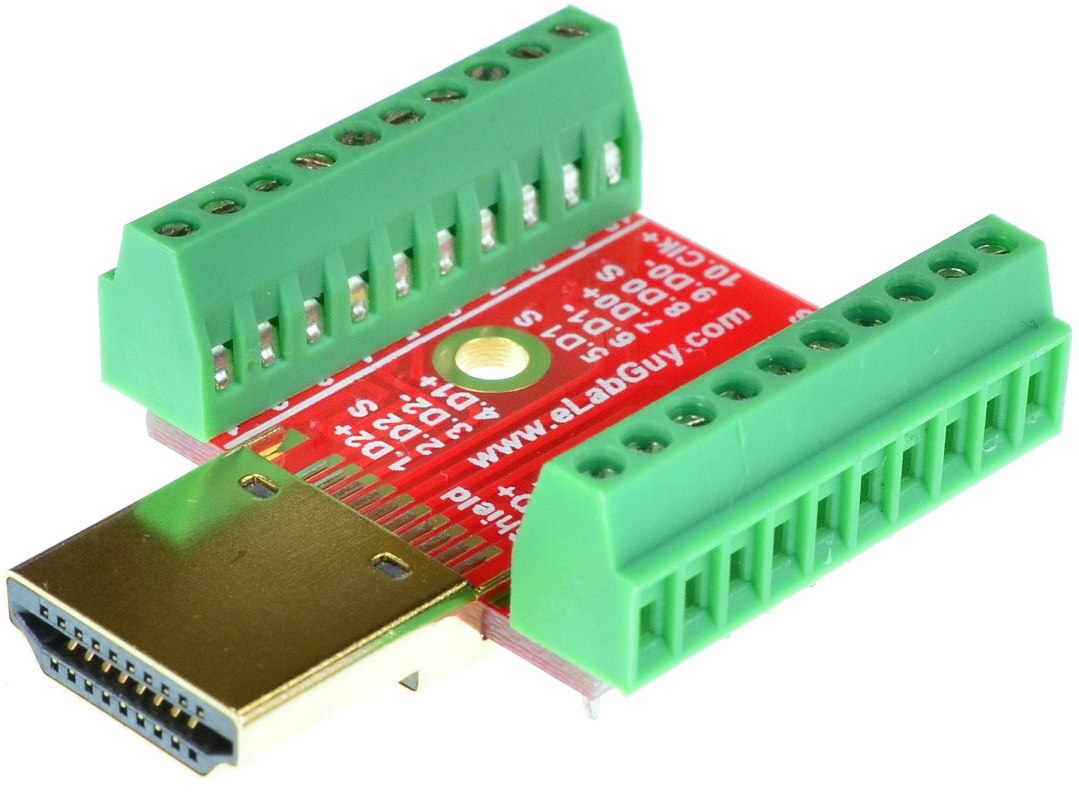 HDMI Type A Male connector Breakout Board