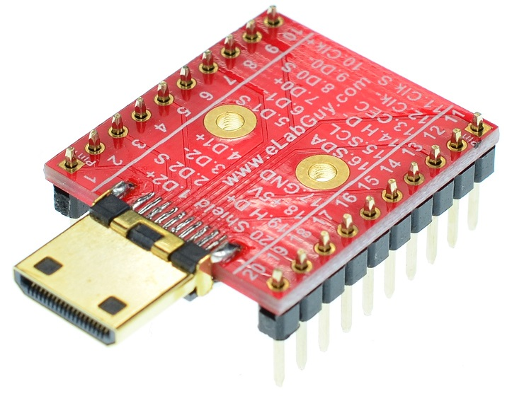 Mini HDMI Type C Male connector Breakout Board