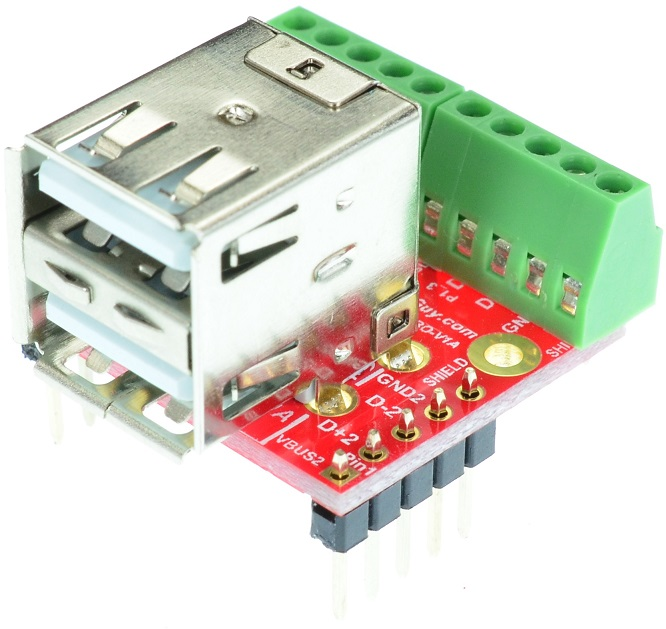 Dual USB Type A Female Socket Breakout Board