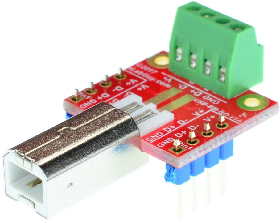 USB Type B male plug breakout board