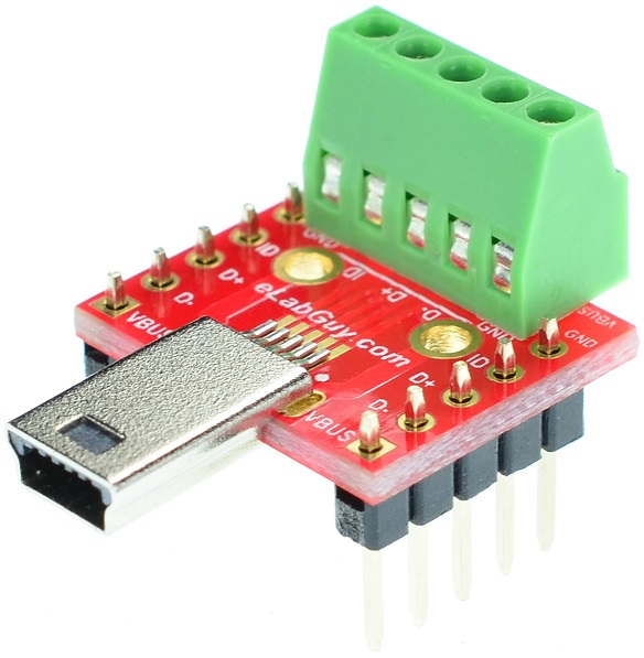 mini USB Type B Male Plug Breakout Board