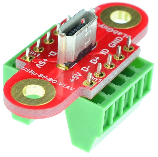 micro USB Type B Female Connector Breakout Board Vertical