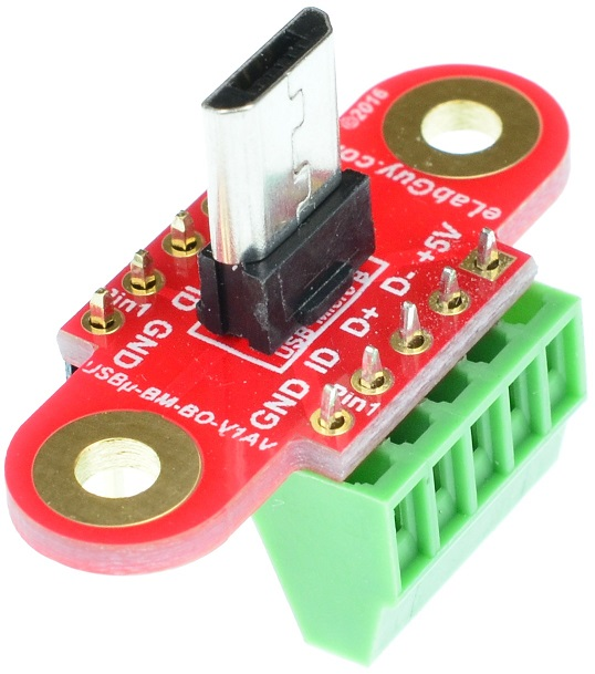 micro USB Type B Male Connector Breakout Board Vertical