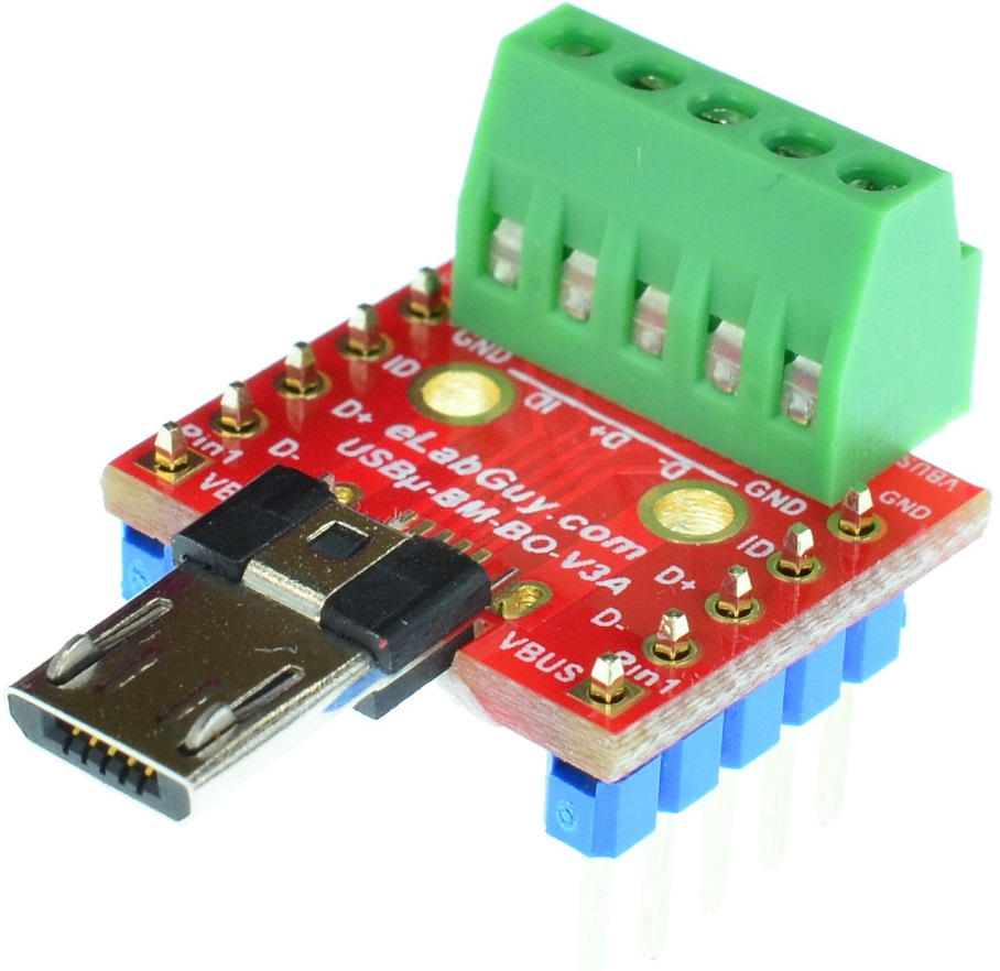 micro USB Type B Male Plug connector Breakout Board