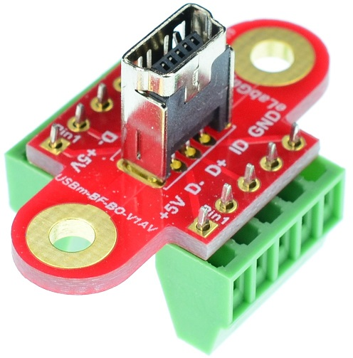 mini USB Type B Female Connector Breakout Board Vertical
