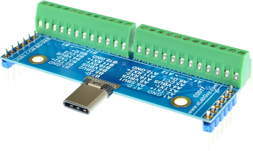 USB 3.1 Type C Male Breakout Board right angle