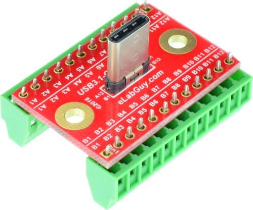 USB 3.1 Type C Male Breakout Board vertical